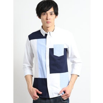 【semantic design:トップス】オックスブロック切替ボタンダウン7分袖シャツ