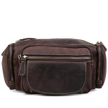 YIYUTING ベルトバッグ本革ファニーパックブラウンウエストバッグ旅行ハイキングヒップボム財布、ショルダーバッグ (Color : Dark brown)