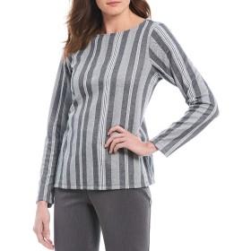 [インベストメンツ] レディース Tシャツ Stripe Print Long Sleeve Jewel Neck Top [並行輸入品]