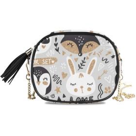 KAPANOU レディース チェーンバッグ,ベクトルセット漫画動物キツネ,ミニファッションかわいいデザインショルダーバッグパーソナライズされたカスタムの異なるスタイルの色