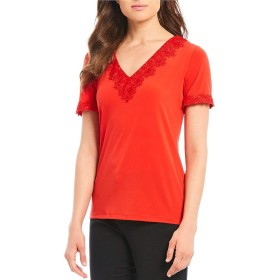 [カールラガーフェルド] レディース Tシャツ Jersey V-Neck Short Sleeve Lace Trim Top [並行輸入品]