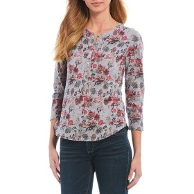 [ラッキーブランド] レディース Tシャツ Floral Print Overdyed 3/4 Sleeves Henley [並行輸入品]