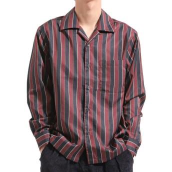 バレッタ 無地 ストライプ柄長袖オープンカラーシャツ[171901] ストライプ柄 無地 開襟 開襟シャツ シンプル ビッグシャツ ワイ メンズ レッド L 【Valletta】