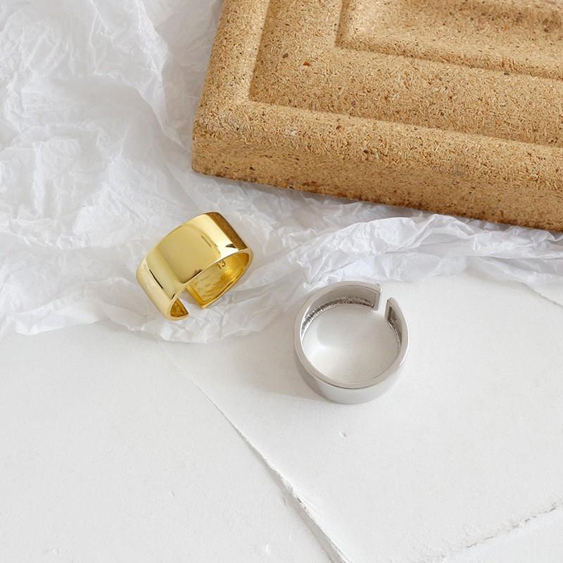 【Slow Life】純銀「寬面 」戒指 韓國個性極簡鍍金開口戒指 時尚食指戒 金/銀