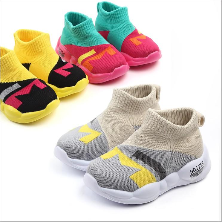 母嬰 新款童鞋嬰幼童寶寶鞋 新款透氣寶寶學步鞋飛織網面兒童休閒鞋幼兒透氣拼色小童鞋 寶寶學步鞋 [DM商城]