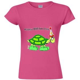 スタイリッシュ Single-sided Printing of Short-sleeved T-shirt for Women レディース半袖Tシャツ 誕生日おめでとう color89 S