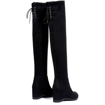 [南浔慧慧女装店] 女性ロングチューブブーツローヒールウェッジオーバー膝冬パーティーブーツスタイリッシュな弾性バンド伸縮性靴下スノーシューズウォーム、ブラック、35
