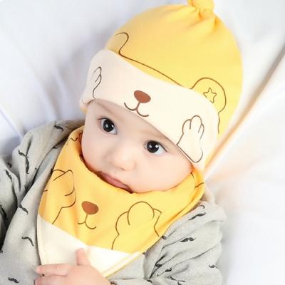iSFun 安眠小熊 嬰兒雙色棉帽三角領巾組 黃