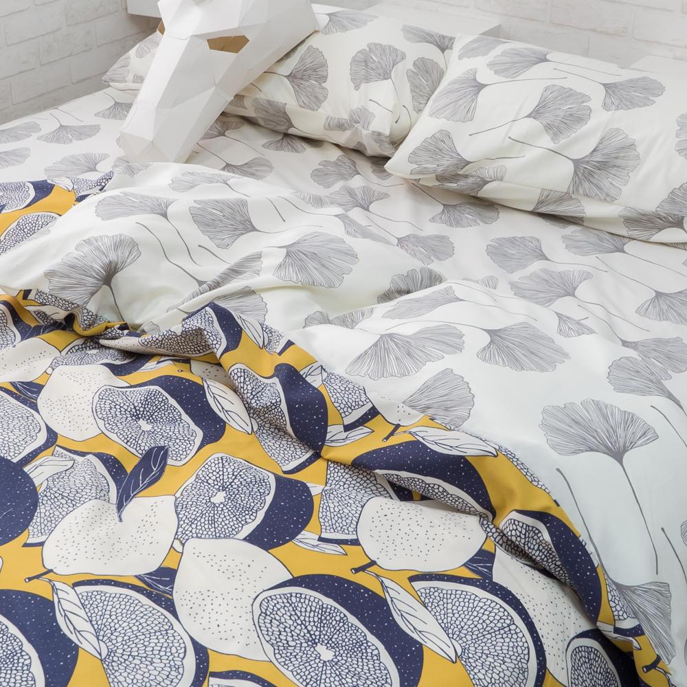 藍色檸檬與落葉【床包杏葉】 四季磨毛布 台灣製【棉床本舖】