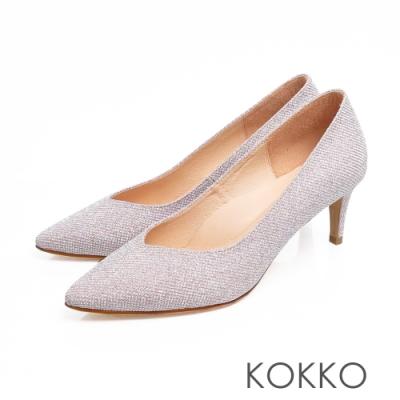 KOKKO訂製手工尖頭璀燦公主高跟鞋灰姑娘粉