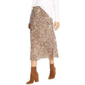 ラッキーブランド ボトムス スカート Lucky Brand Willa Leopard Crepe Skirt Tan Multi レディース [並行輸入品]
