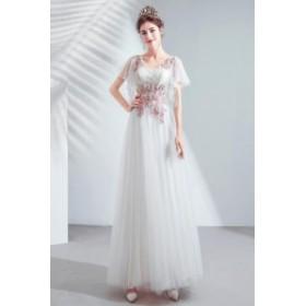 2020春新作品 ウエディングドレス ブライダル 結婚式 スレンダーライン ロングドレス 花嫁衣装 優雅 シンプル 刺繍花柄 Uネック 編み上げ