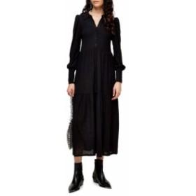 トップショップ レディース ワンピース トップス Topshop Cardigan Tiered Midi Dress Black