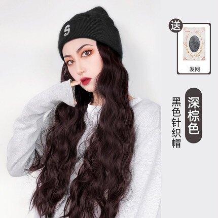 長假髮 假髮帽子一體女長髮網紅針織毛線帽水波紋長卷髮韓版大波浪全頭套