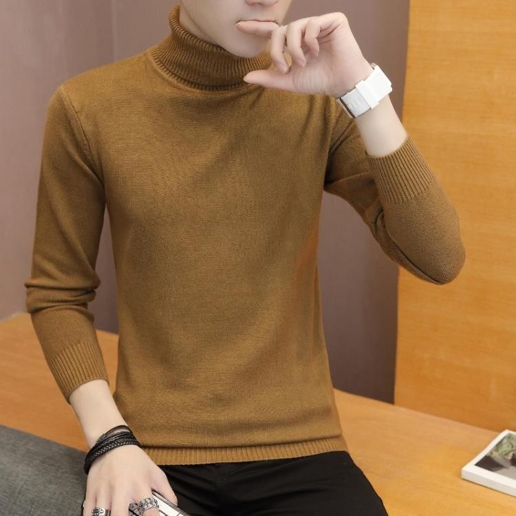 高領毛衣男秋冬季新款韓版修身男士毛線衣潮流長領打底針織衫