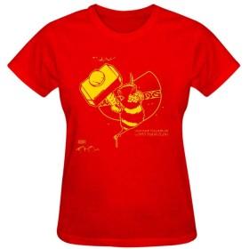 レディース トップス 純綿 tシャツ 半袖 ウータンバンド カスタム シンプル カジュアル 着回し ポケット無し M Red