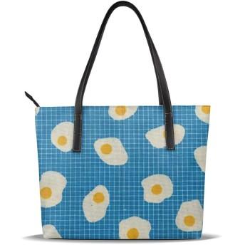 バッグ トートバッグ 卵のパターン 手提げ レディースバッグ PUレザー 肩掛け かばん 通勤 軽量 大容量 A4 ビジネス 通学 プレゼント