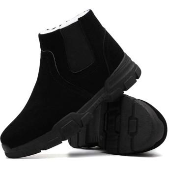 [KYUNEKY12] チェルシーブーツ メンズ ブーツ 26.5cm 防寒 ミドル ロングブーツ 防滑 ウィンターブーツ 男性 防寒ブーツ ボア おしゃれ 防寒ブーツ 裏ボア ブーツ レインブーツ ミドル丈 軽量 黒い 裏起毛 スノーブーツ 防寒靴