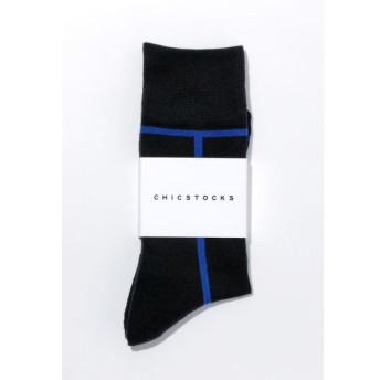 CHICSTOCKS / シックストックス LINE(ライン)ソックスBlack×Blue (ブラック×ブルー)