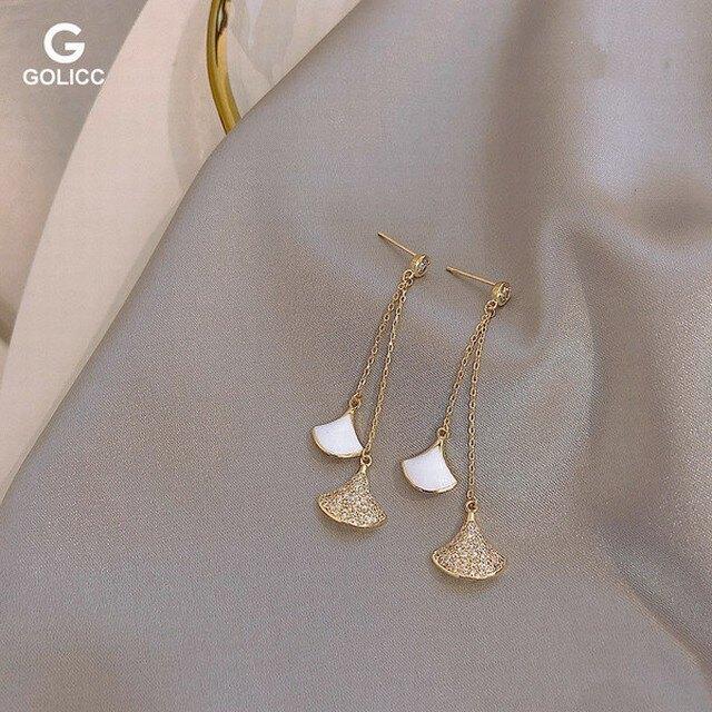 耳環 微鑲銀針滿鑽扇形長流蘇耳環韓版高級感個性耳飾禦姐名媛輕奢耳釘