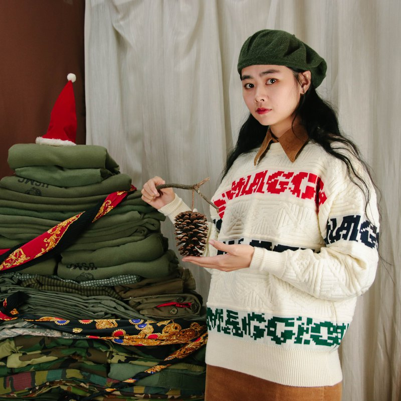 立體織紋毛衣A11,白色 圖騰 ,毛衣 針織 復古【Tsubasa.Y古著屋】