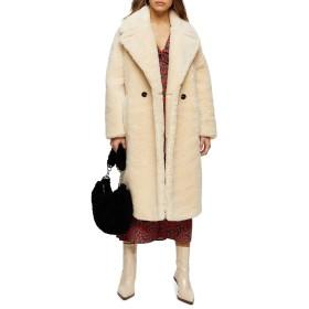 トップショップ アウター コート Topshop Whinnie Borg Maxi Coat (Petite) Cream レディース [並行輸入品]
