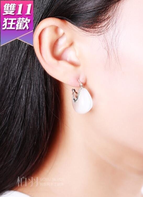 925純銀飾品復古泰銀貓眼石耳釘耳環民族大款女正品耳飾白色氣質