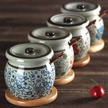 調料盒釉下彩鹽罐油罐廚房日式調味罐調料罐瓶陶瓷辣椒罐
