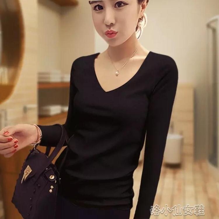 黑色t恤女中袖純棉修身春秋五分袖緊身半高領內搭打底衫長袖上衣