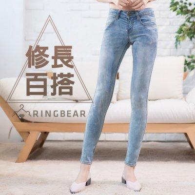 牛仔褲--優雅百搭銅釦刷色針織內裡修長顯瘦窄管丹寧褲(藍XL-7L)-N96眼圈熊中大尺碼