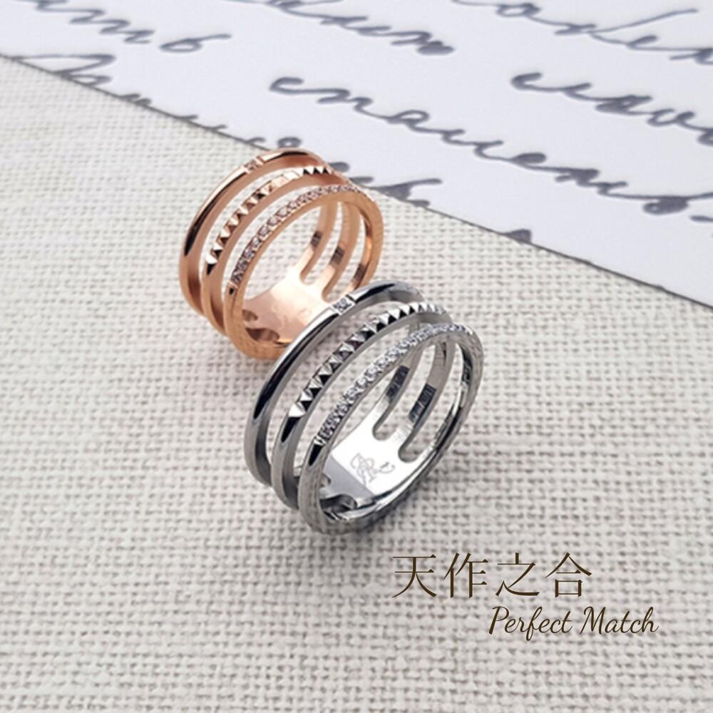 韓版時尚晶鑽 三層戒指 (316l 西德鋼)  抗過敏 不變黑