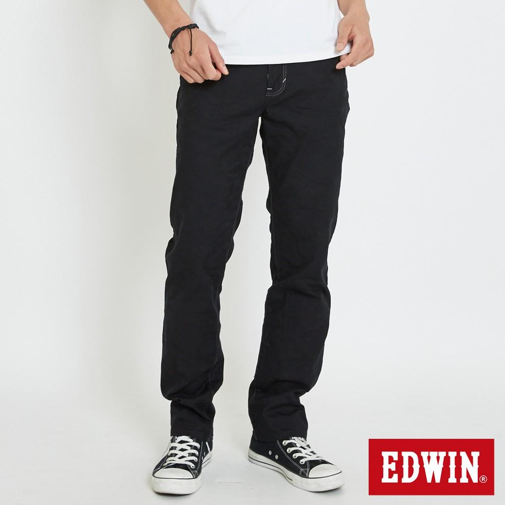 EDWIN 加大碼EDGE迷彩五袋直筒牛仔褲(黑色)-男款
