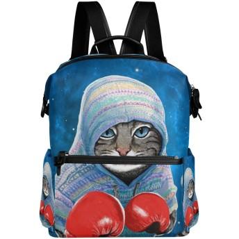 リュック レディース ビジネス 大容量 おしゃれ かわいい リュックサック ボクシングの猫 バッグパック デイパック 通学 旅行 スクール 軽量 防水 PC マザーズバッグ 背面ポケット PUレザー カジュアル