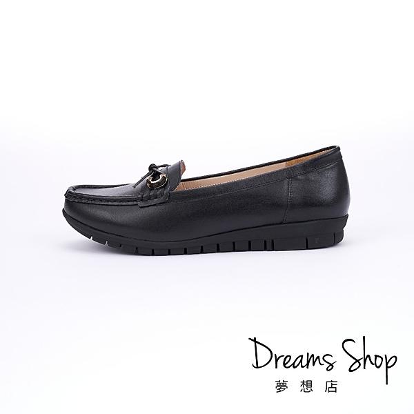 大尺碼女鞋 夢想店 MIT台灣製造金屬扣蝴蝶結莫卡辛樂福鞋2.5cm(41-45)【PW2861】黑色