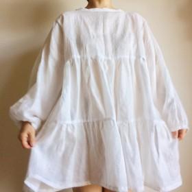 Ribbon Dress, White linen - Katie
