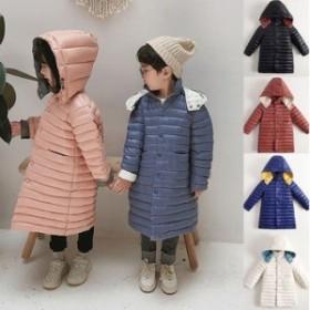 子供服 女の子 男の子 無地 ダウンコート 中綿コート フード付き ジャケット キッズコート 冬着 子供コート キッズ服 アウター 中綿 ロン