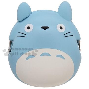 〔小禮堂〕宮崎駿 Totoro龍貓 矽膠造型口金零錢包《藍.立體耳朵》