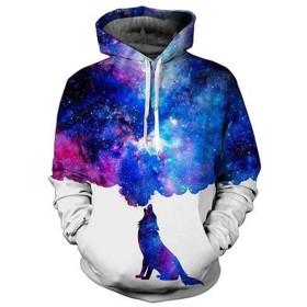 3Dはフード付きのセーターのヨーロッパとアメリカの流行の男性の人格創造スポーツパーカープリントプルオーバーオオカミパターン (Color : B)