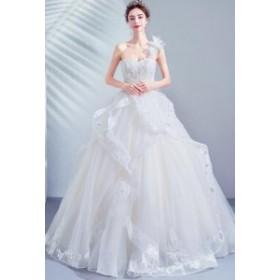 2020春新作品 ウエディングドレス ブライダル 結婚式 プリンセスラインドレス ロングドレス 花嫁衣装 優雅 華やか補整花柄 ビスチェ ハー