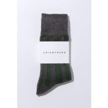 CHICSTOCKS / シックストックス RANDOM STRIPES(ランダムストライプ)ソックスDark Gray×Dark Green (ダークグレー×ダークグリーン)