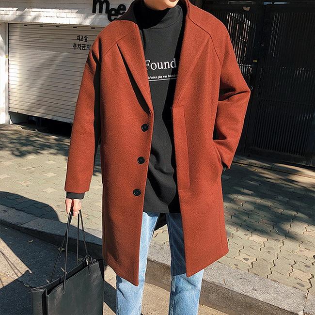 FOFU-大衣外套港風中長版休閒寬鬆毛呢大衣外套【08B-F0754】