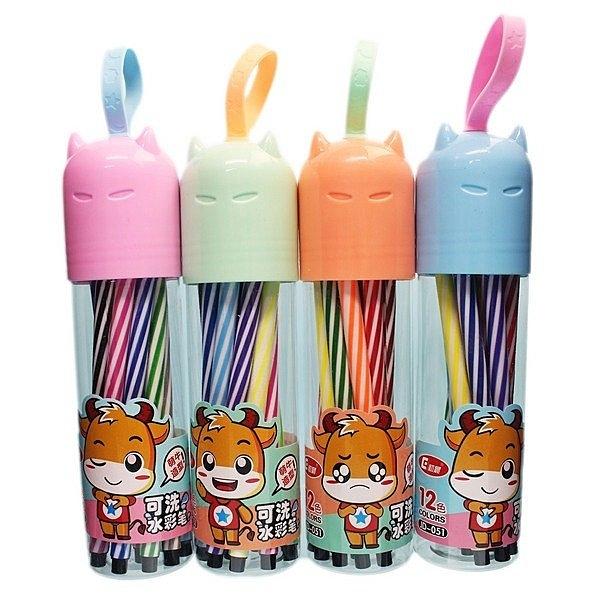 12色可水洗水彩筆 初晨JD-051 筆型彩色筆(罐裝)/一個入(促39) 細桿 繪畫 可洗水彩色筆-萬