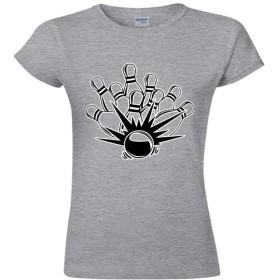 スタイリッシュ Single-sided Printing of Short-sleeved T-shirt for Women レディース半袖Tシャツ ボーリングストライク color106 L