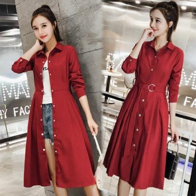 【韓國K.W.】(預購)素色街頭收腰韓版襯衫大衣外套-2色