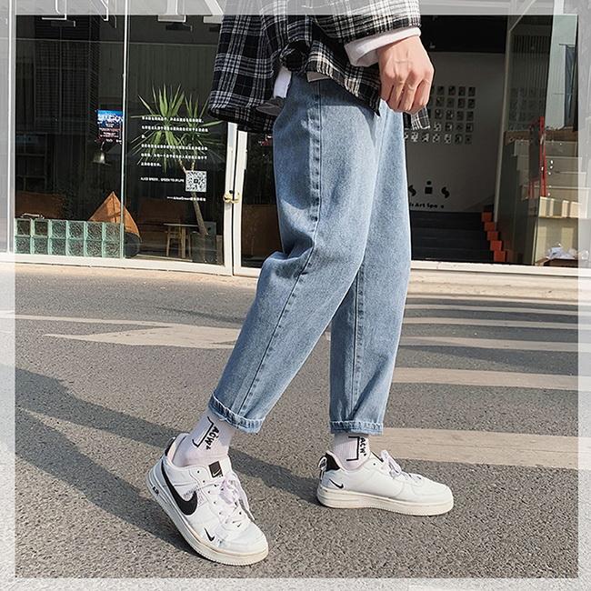 FOFU-牛仔褲時尚個性百搭直筒牛仔休閒長褲【08B-G0816】