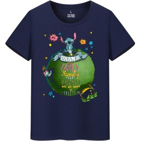 Disney Lilo and Stitch Stitch スティッチ メンズ/レディース Tシャツ/夏服 半袖 Tシャ