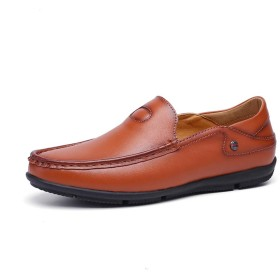 SJXIN Mens Shoes メンズカジュアルレザーシューズ、軽量マイクロファイバーレザーラウンドトウフラットヒールマン・オンソフトカジュアルボートシューズビジネスステッチオックスフォードスリップのために通気性のドライビングローファー (Color : Dark Brown, Size : 39 EU)