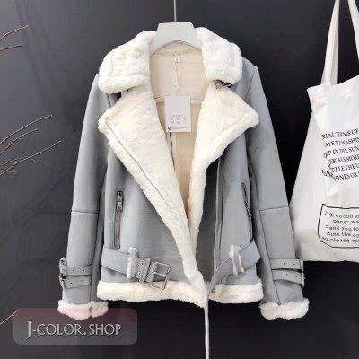 預購~J-color~秋冬羊羔毛西裝領外套麂皮寬鬆加厚機車外套