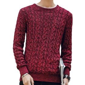 セーター メンズ ニット 長袖 おしゃれ トレーナー ゆったり red 2XL