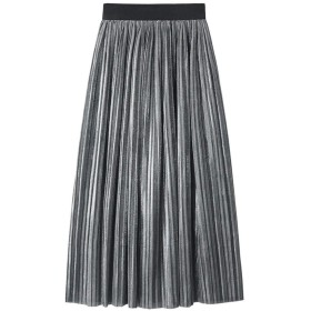 10色明るいプリーツスカートレディース秋冬ファッションロングスカート女性紫赤灰色スカート、グレー